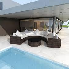 <b>8 Piece Garden Lounge</b> Set with Cushions Poly Rattan Black ...