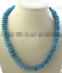 08149 пресной воды перл синий рондел ожерелье|<b>necklace</b> ...