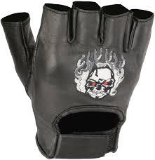 <b>Gloves</b> Milwaukee Leather Men's Fingerless <b>Glove</b> w/ <b>Flaming</b> Skull ...
