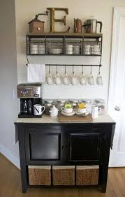 brilliant idea for a diy coffee bar with a hanging mug rack shelf istandarddesign unique diy coffee station