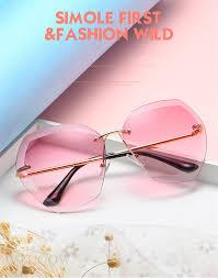 Luxury <b>Rimless Sunglasses Women</b> Brand Designer Summer ...