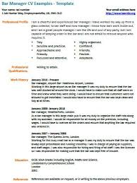bar manager cv example   learnist org