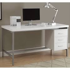 white and silver metal 60 inch office desk basic office desk