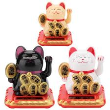Solar Powered Maneki Wealth Shaking Hands <b>Lucky Cat</b> Beckoning ...