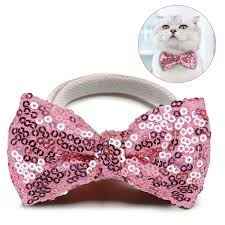 Fashion <b>Sequin Pet</b> Bowtie Cute Elastic <b>Dog Bow</b> Tie <b>Pet</b> Collar Tie ...