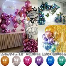 <b>50pcs 12Inch Colourful Latex</b> Helium Balloons Pearl Crystal Metallic ...
