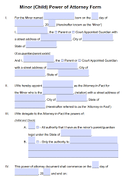 Minor Child Power of Attorney Forms | PDF Templates - Power of ...