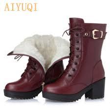 <b>High heeled genuine leather women</b> winter boots thick wool warm ...