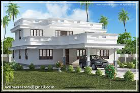 Kerala House Plans and Elevations   KeralaHousePlanner comKerala house elevation at sq ft Flat roof house