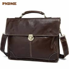 <b>PNDME</b> Business Men's genuine Leather One Shoulder Bag 14 ...