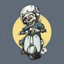 Free Vector | <b>Skeleton</b> riding a <b>motorbike</b>
