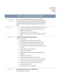 hospital volunteer resume samples tips and templates hospital resume template