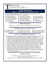 Facility Engineer Sample Resume 20 Facilities Cover Letter