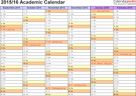 academic calendars as printable excel templates template 3 academic calendar 2015 16 for excel landscape orientation months horizontally