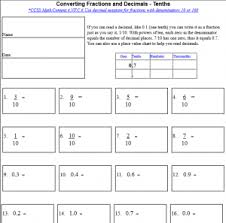 Converting Fractions and Decimals (tenths, hundredths, thousandths ...convert decimals fractions