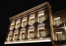 architectural lighting of the office building facade building facade lighting