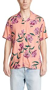 Amazon.com: Obey <b>Men's Lily</b> Woven Shirt, Coral Multi, Large ...