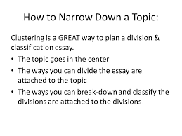 division amp classification essays a complex topic is broken into  how to narrow down a topic clustering is a great way to plan a division