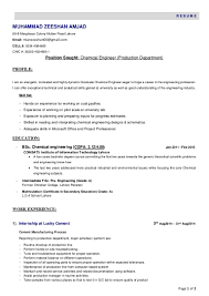 resume chemical engineer