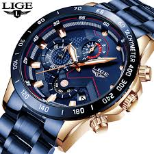LIGE 2020 New <b>Fashion Mens Watches</b> with Stainless Steel Top ...