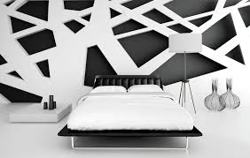 interior trendy black bed idea beside marvelous white low side table design and delectable white black white interior design