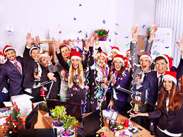 5 things you should not discuss at your company s holiday party group people in santa hat at xmas business party