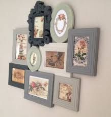 shabby chic vintage photo picture frames multi frame period grey green cream antique dresser framed leaning mirror shabby chic