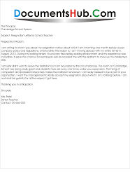 resignation letter for school teacher documentshub com resignation letter for school teacher