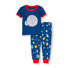toddler baby boy sleepwear the children s place ca off baby and toddler boys short sleeve graffiti man on the moon top and space print pants