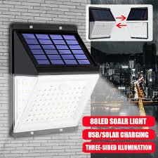 88 led solar power lamps pir motion sensor light waterproof outdoor yard street garden wall lamp with remote control