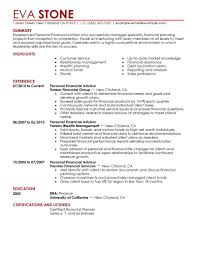 simple finance resume examples livecareer personal financial advisor resume example
