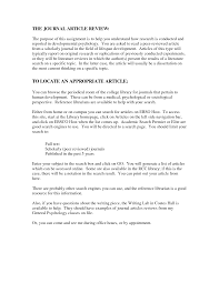 Sample Journal Article Review In Apa Format Cover Letter Templates
