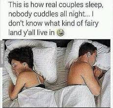 How real couples sleep | Funny Dirty Adult Jokes, Memes & Pictures via Relatably.com
