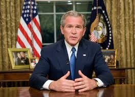 george w bush oval office. president george w bush delivers an address to the nation from oval office