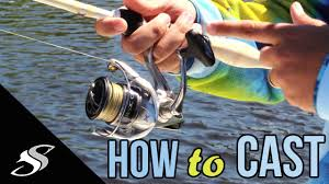 How to Cast a <b>Spinning Reel</b>/Rod - For Beginners - YouTube
