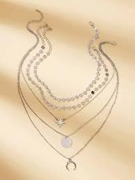 Moon & Star Charm <b>Layered</b> Chain Necklace <b>3pcs</b>   SHEIN EUR
