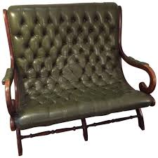dining chair hbn highbackdiningchair: antique english dark green leather library loveseat settee