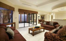 amusing attractive living room design with brown sofa and wooden table ideas furnished with beautiful cream wall paint color and completed with ceiling attractive living rooms