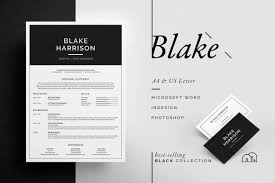 resume cv blake resume templates on creative market