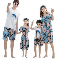 <b>Summer Family matching outfits</b> mom daughter dress dad son sets ...