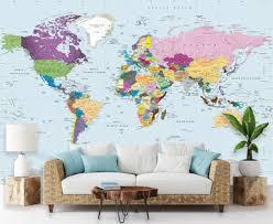 <b>Simple</b> Colorful <b>World</b> Political <b>Map Wall</b> Mural - Peel & Stick ...