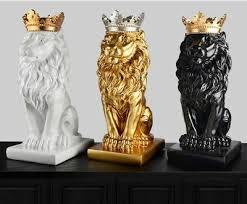 <b>Gold Crown Lion Statue</b> Handicraft Decor Sculpture Home ...