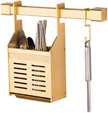 <b>Chopsticks Cage</b> Kitchen <b>Rack</b> Aluminum Drain Gold Hook <b>Wall</b> ...
