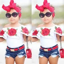 2Pcs <b>Cute Toddler Baby Kids</b> Girls Flower Tops Denim Shorts Pants ...