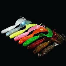 WALK FISH <b>10PCS</b>/Lot Curly Tail <b>Soft Lure 70mm</b> 2.5g Forked Tail ...