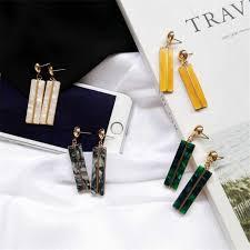 South Korea <b>Geometric</b> Rectangular Earrings Trendy Acetic Acid ...
