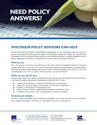 professional consulting services wisconsin taxpayers alliance for more information on wispolicy advisors our rates and what we can do to help you