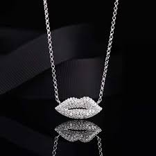 <b>S925 Sterling Silver Sexy</b> Red Lips Necklace Double Hearts Tail ...