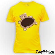 Футболка Пузатый <b>мишка</b> ( Мужская, Желтая, S (44-46) ) на Твой ...
