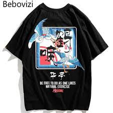<b>Bebovizi</b> Brand 2018 Japanese Street Crane Printed Tops Tees ...